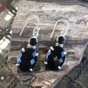Jewelry - NEW Faceted black onyx sterling silver earrings